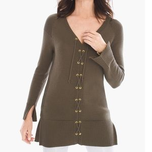 CHICOS LACE UP LEAH PULLOVER TUNIC SWEATER TOP